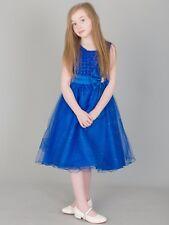 Belle ragazze Sparkle Fiocco e Perla Abito in Blu Royal