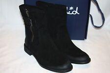 NEW! NIB Anthropologie SPLENDID Black Oiled Suede OAKLAND Buckle Ankle Boot $138