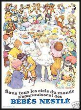 PUBBLICITA' 1930 BEBE' NESTLE BAMBINI DEL MONDO CHILDREN DOLCI CIOCCOLATO FESTA