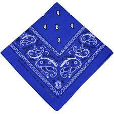 "100% Cotton Paisley Bandanas Double Sided ""Royal Blue"" Handkerchief Headscarf"
