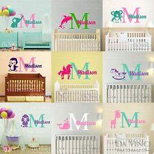 Name Wall Decal Vinyl Sticker Monogram Personalized Animals Baby Girl Nursery