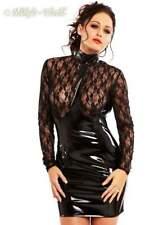S-Langärmeliges Minikleid mit zarter Spitze und glänzendem Lack schwarz