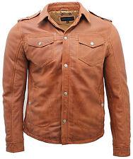 Men's Tan Leather Vintage Jeans Shirt Jacket