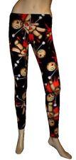 NUOVO Donna Nero Voodoo Doll Print Leggings Pants Goth Punk Emo Halloween