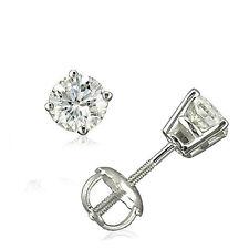 1/2 CARAT 14K WHITE GOLD 100% AUTHENTIC DIAMOND ROUND SCREW BACK STUD EARRINGS