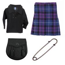 New kids pride of scotland 4 piece kilt outfit avec kilt shirt pin & sporran
