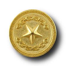 6 elegante matt goldfarbene Metall Knöpfe mit edel glänzendem Stern (2720go)