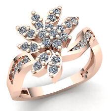 Genuine 0.5ct Round Cut Diamond Ladies Personalized Flower Fancy Ring 18K Gold