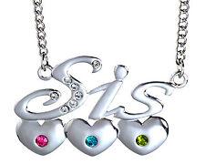 SIS Heart Necklace 18k GP Swarovski Elements Sister Gifts Birthday Best Friends
