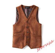 Mens Suede Leather Business Dress Waistcoat Slim Fit Vintage Formal Jacket Vests