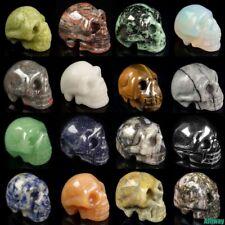 "1.2"" similar carved skull statue natural assorted gemstone crystal healing"