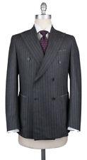 New $4500 Luigi Borrelli Dark Gray Wool Striped Suit - (LB203330R7X3)