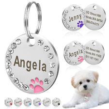 25mm Metal Blank Dog Tag Paw Rhinestone Pet Cat ID Name Engraved Key Ring Chain
