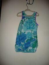 Cupcakes & Pastries Dress With Elastic Bottom Hem Floral Aqual Blue Sz 6, 7, 12