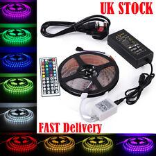 5M SMD RGB 5050 Waterproof 300 LED Strip Light 44Key Remote 12V UK Power Adapter