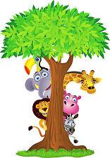 Sticker enfant animaux jungle réf 2639 (Dimensions de 10 cm à 130cm de hauteur)