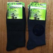 6 Pairs SIZE 6-11 95% BAMBOO SOCKS Men's Premium Work/School Socks Black/Navy