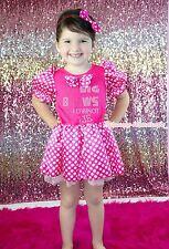 Rhinestone I Like Big Bow Hot Pink Minnie Dot Princess Dress Girl Costume 6M-8Y