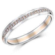 3mm 9ct Due Colore Anello Eternity Oro Rosa e Bianco 15 punto di anello di diamanti