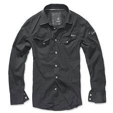 Brandit - SlimFit Shirt Schwarz Hemd Outdoor Tarnmuster