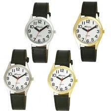 Black Leather Quartz Watch Super Bold Easy Read Dial Gents/Ladies #R0125