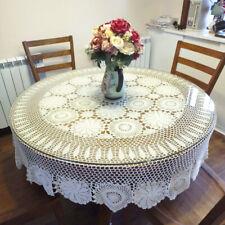 """51"""" 59"""" 86"""" Vintage Cotton Tablecloths Hand Crochet Doilies Lace Table Cover"""