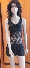 Sexi abito vestito donna corto NERO da discoteca cubista pizzo ballo mini