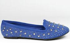 Ocean Blue Spike Studded Jeweled Slip On Loafers Flats Paprika Mindy-S