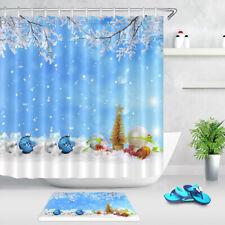 Christmas Baubles Ornaments Winter Snow Fabric Shower Curtain Set Bathroom Decor