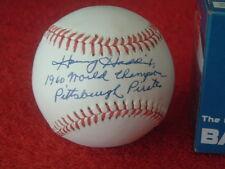 "HARVEY HADDIX  Single Signed NL ""WW"" Baseball w/Inscription"