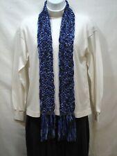 Hand Knit Scarf, Wide Shiny Ribbon