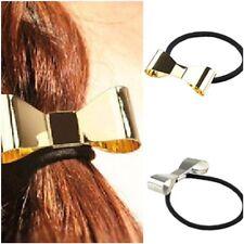 Miss AVERY - Girls/Ladies Metal Bow Ponytail Hair Tie Elastics Silver/Gold
