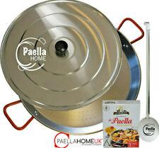 50cm PAELLA PAN SET - PROFESSIONAL POLISHED STEEL & SPOON & LID + SPANISH GIFT