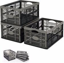 Pieghevole Plastica Da 32 Litri Scatola Di Immagazzinaggio Crate impilabili casa garage magazzino