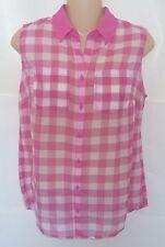 Womens AEROPOSTALE Sheer Gingham Chiffon Sleeveless Woven Shirt NWT #2953