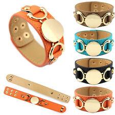 Men Women Monogram Blank Wrap Bracelet Leather Cuff Engraved Round Snap Bracelet