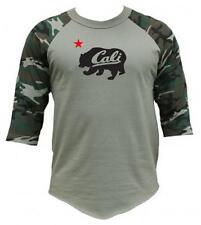 New Printed CALI CALIFORNIA BEAR FUNNY 3/4 Sleeve BaseBall T-Shirts Raglan TEE