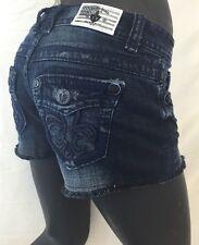 Womens LAGUNA BEACH Jean Shorts Fleur De Lis Dark Blue Denim 25 26 27 28 30 31