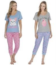 Ladies 100/% Cotton Seersucker Short Sleeve Check Pyjamas Green Blue Pink 10-20