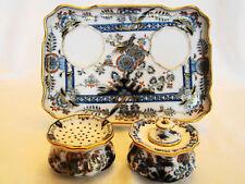 Fine Meissen Porcelain Exotic Bird & Flowers Inkwell Desk Tray  19th century