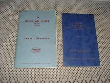 1961 HILLMAN MINX DE LUXE OWNERS INSTRUCTION MANUAL PLUS EXTRA ORIGINAL BOOK