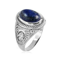 Sterling Silver Lapis Lazuli Horse Shoe Gemstone Ring