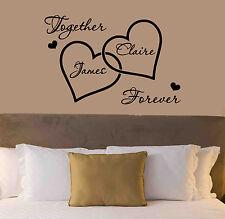 Personalised Love Hearts Wall Sticker - Romantic Bedroom Modern Vinyl Wall Art