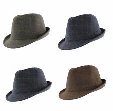 Misto Lana Motivo Check Cappello borsalino blu, verde o marrone