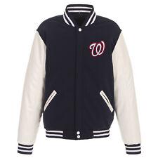 MLB Washington Nationals Reversible Snap Fleece Jacket PVC Sleeves JH Design