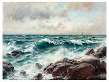 Waves Stones Sailboat B. Lindholm Tile Mural Kitchen Backsplash Marble Ceramic