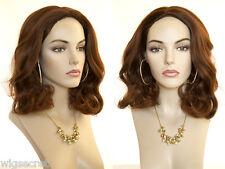 Shoulder Length Blonde Grey Brunette Red Straight Wavy Skin Top Wigs