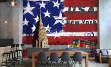3D American Flag Building Bus Wall Paper Wall Print Decal Wall AJ WALLPAPER CA