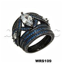 Black Rhodium Disney 3.28CTW Fantasy Blue Sapphire Engagement Wedding Ring Set