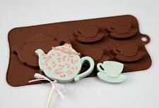 4 +1 théière TEACUPS tea pot cups silicone chocolat candy bar Moule Lolly